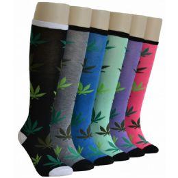 240 Units of Ladies Leaf Printed Knee High - Womens Knee Highs