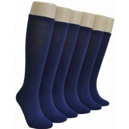 240 Units of Ladies Navy Blue Solid Knee High - Womens Knee Highs