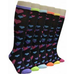 240 Units of Ladies Heart Print Knee High Socks - Womens Knee Highs