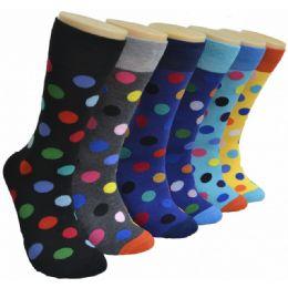 288 Units of Men's Novelty Socks Dot Print - Mens Dress Sock