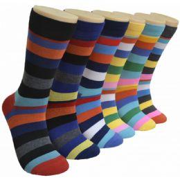 288 Units of Men's Novelty Socks Striped - Mens Dress Sock