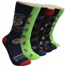 288 Units of Men's Novelty Socks Sports Printed - Mens Dress Sock