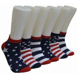 480 Units of Men's America Flag Low Cut Ankle Socks - Mens Ankle Sock