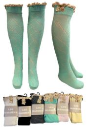 12 Units of Wholesale Long Over the Knee Stocking with Lace Trim As - Womens Knee Highs
