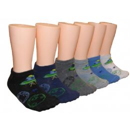 480 Units of Boys White Low Cut Ankle Socks With Printed Space Design - Boys Ankle Sock