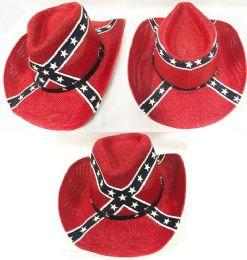 12 Units of Straw Cowboy Hat with Rebel Flag - Cowboy & Boonie Hat