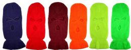 36 Units of Wholesale Neon Color Winter Mask/ Hat 3 Hole - Winter Beanie Hats