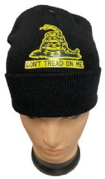 36 Units of Wholesale Don't Tread on me Black Winter Beanie - Winter Beanie Hats