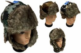36 Units of Wholesale Faux Fur Lined Aviator Hat with Digital Camo - Winter Beanie Hats