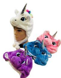 36 Units of Wholesale Unicorn Assorted Colored Plush Animal Hats - Winter Beanie Hats