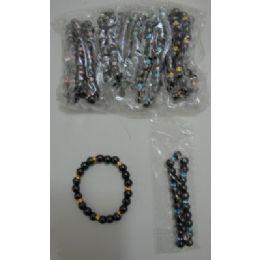 72 Units of Black Magnetic Bracelet-Round with Color - Bracelets