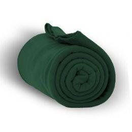 24 Units of Fleece Blankets/Throw -Forest Green - Fleece & Sherpa Blankets