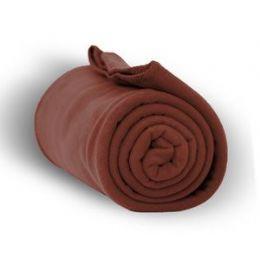 24 Units of Fleece Blankets/Throw - Cocoa - Fleece & Sherpa Blankets