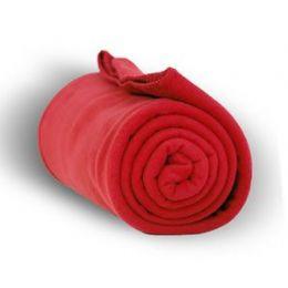 24 Units of Fleece Blankets/Throw - RED - Fleece & Sherpa Blankets