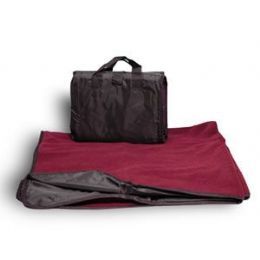 24 Units of Fleece Picnic Blanket - Burgundy - Blankets & Bedding