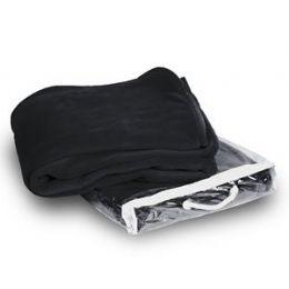 24 Units of Micro Plush Coral Fleece Blanket - Black - Micro Plush Blankets