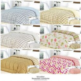 18 Units of 1 Pc Printed Microfiber Reversible Comforter - Queen - Blankets & Bedding