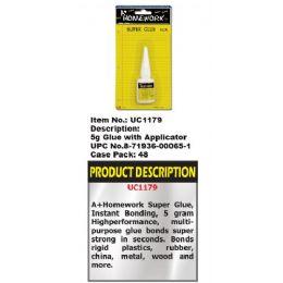 144 Units of Super Glue w/applicator - 5 gm - Glue Office and School