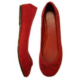 18 Units of Ladies' Velvet Ballerina *Maroon Size 5-10 - Women's Flats