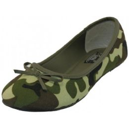 18 Units of Women's Camouflage Ballet Flats (Green Color Only) - Women's Flats