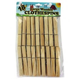 72 Units of 18pk Wooden Clothespin - Clothes Pins