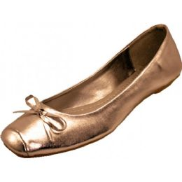 18 Units of Women's Square Toe Ballet Flats ( Bronze Color Only) - Women's Flats