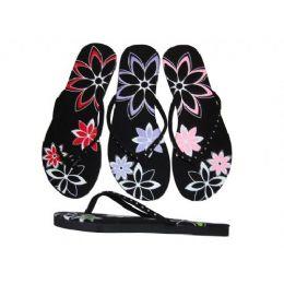 48 Units of Ladies' Rhinestone Flower Thong - Women's Flip Flops