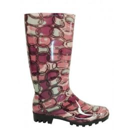12 Units of Ladies Circle Pattern Rainboot Size: 5-10 - Women's Boots