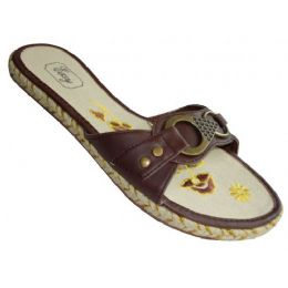 24 Units of Lady Slide Buckle with Flower Stitching - Women's Sandals