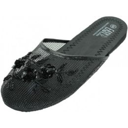 48 Units of Ladies' Mesh Slippers with Sequins BLACK - Women's Slippers