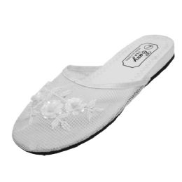 48 Units of Women's Mesh Slippers with Sequins( White Color Only) - Women's Slippers