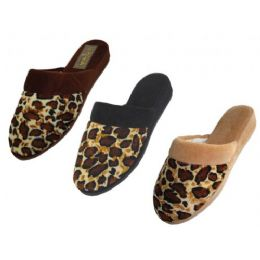48 Units of Ladies' Velour Leopard Print Slippers - Women's Slippers