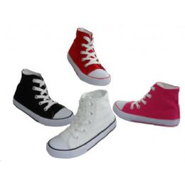 24 Units of Children's Lace Up High Top Canvas Shoes - Toddler Footwear