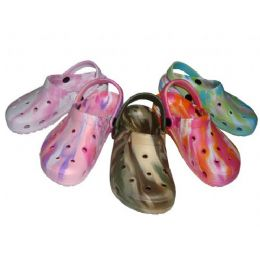36 Units of Children's Tie-Dye Garden Clogs - Girls Slippers