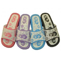 36 Units of Ladies' Flower Print Slippers - Women's Slippers