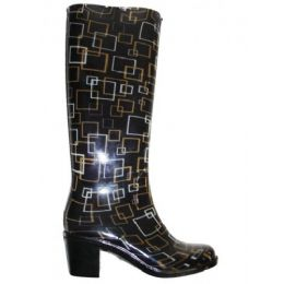 12 Units of Ladies Square Pattern Rainboot With Heel - Women's Boots