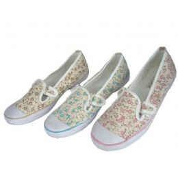 24 Units of Ladies' Floral Print Canvas Shoes - Women's Sneakers