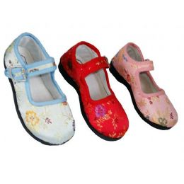 36 Units of Girl Brocade MaryJane Colors: Blue, Pink & Red (Assorted) - Girls Shoes