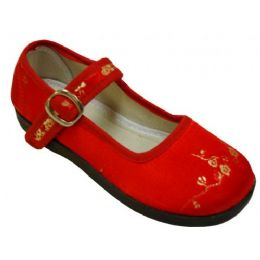 36 Units of Girl Brocade MaryJane Red - Girls Shoes