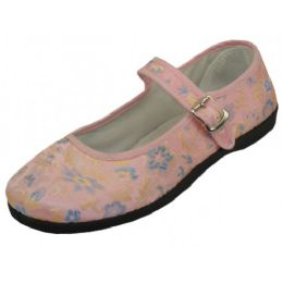 24 Units of Women's Brocade Mary Jane Shoes(Pink Color Only) - Women's Flats