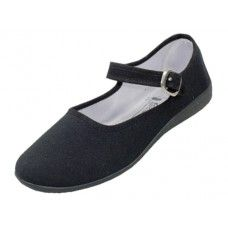 36 Units of Women's Cotton Mary Jane Shoes Black Color Only - Women's Flats