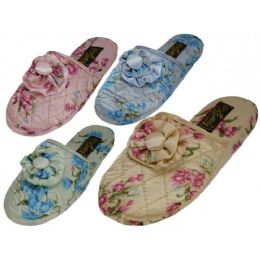 48 Units of Ladies' Satin Floral Slippers Colors: Blue, Pink, Green - Women's Slippers
