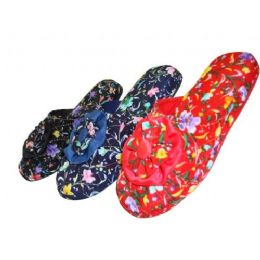 48 Units of Girls' Satin Floral Slippers - Girls Slippers