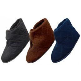 36 Units of Men's Corduroy Velcro Wrap Bedroom Boots - Men's Slippers