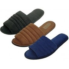 72 Units of Men's Open Toe Cotton Terry Upper House Slippers - Men's Slippers