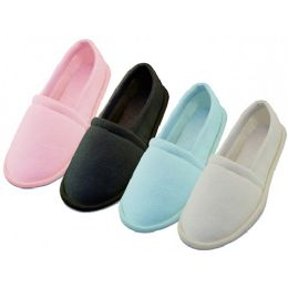 48 Units of Women's Cotton Terry Upper Close Toe And Close Back House Shoes - Women's Slippers