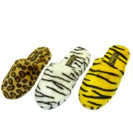 36 Units of Ladies Plush Animal Print Slippers - Women's Slippers