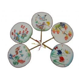 500 Units of Round Silk Palace Fans - Home Decor