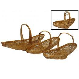 24 Units of Long Oval Bamboo Basket Set of 3 - Baskets