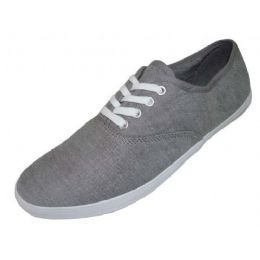 24 Units of Ladies' Chambray Lace Up 7-12 - Women's Sneakers
